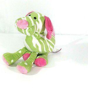 Douglas Cuddle Toy Dog Green Pink Plush